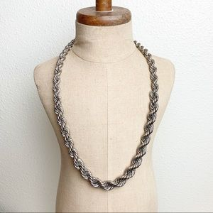 Vintage Silver Tone Graduated Rope Necklace